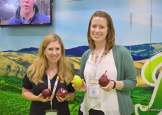 Lindsey Huber from the Washington Apple Commission and Lynsey Kennedy from USA Pears shared a booth