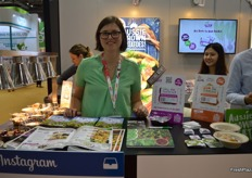 Sarah Huntly at the LoveBeets stand promoting LoveBeets and new ready to cook flavoured potatoes.