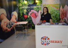 Rachel Montague-Ebbs at the Soloberry stand, the company has attended for four years now but this year was the first under the Soloberry name the joint brand for all of supply regions, the company are keen to offer the very best in berries and stonefruit to customers around Asia.
