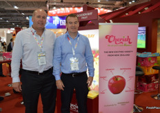 Heath Wilkins and Patrick Meikle were promoting Golden Bay's Cherish apple and Piqua Boo pear. The company is also building a new state of the art packhouse with a 10 lane grader from Dutch company Greefa.