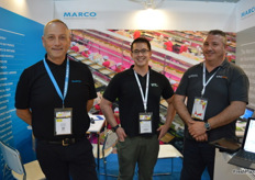 A smiling Murray Hilbourne from Marco with Ian Cover from Fruit Growers Tasmania and Greg Sullivan from Select Equip.