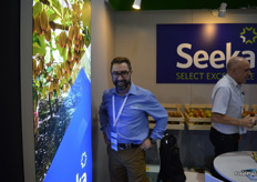 Michael Franks, CEO of Seeka, all smiles at the Seeka stand.