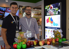 Rohan Sali (left) from Great Shepparton, a government initiative to promote the Australian region. Andrew Mandermaker from APAL popped in for a chat, APAL are promoting the new Frank pear variety which APAL has the commercialisation rights for.