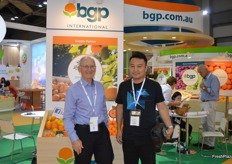 Neil Barker from BGP Internation had been run off his feet with enquiries, he is pictured here with a visitor to the stand.