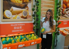 Daniela Manjarres from Ocati, promoting their yellow pitahaya. Ecuador is hoping to open the Chinese market soon for the export of yellow pitahaya.