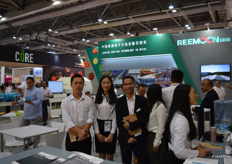 Sam Zhao, Lili Xiao and Jason Lai of Reemoon, ready to answer all questions at their front desk. Reemoon is specialized in developing, manufacturing and supplying postharvest equipment and solutions for fruit and vegetables, including sorting machine, washer, dryer, waxing machine and other accessory equipment.