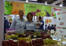 Vered Karniel , financial office manager, with Nomi Karniel-Padan, marketing manager of Grapa showing us their ARRA grapes.