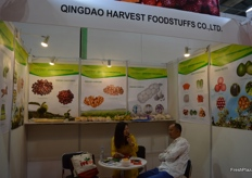 Sasa Jiang, Managing Director of Qingdao Harvest Foodstuffs Co.,Ltd in conversation with a client.