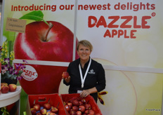 Lisa Cork at Mr Apple with the Dazzle apple.