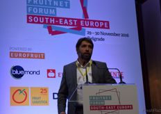 """Aleksandar Jankovic from Sagar Agral speaking during the presentation ""Emerging Potential: new sources of fresh produce in South-East Europe."""