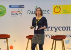 Cindy van Rijswick from Rabobank during her presentation called 'The Big Picture-Key Trends for the Berry Trade'.