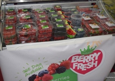 A variety of Berry Fresh berries on display at the Special Fruit stand.