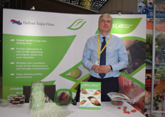 Steven Davies, EMEA Packaging Market Manager at the DuPont Teijin Films stand.