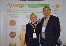 Orsolya Kiss and Bela Domocsok at the Apicon stand.