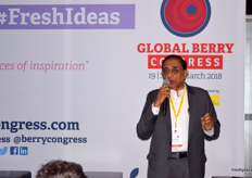Ambrish Karvat from Yupaa Group speaking at the FreshIdeas stage about the potential in the Indian market.