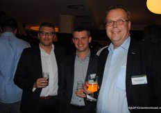 'The evening before the congress a get-together was organised in Düsseldorf. In the photo Kristophe Thijs (Vlam), Tom Premereur (Reo Veiling) and Peter Bungenberg (Bureau Bungenberg).'