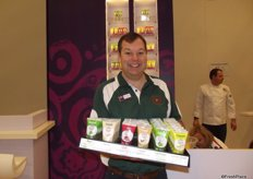 Paul Milner from Gourmet Garden joined the Nature's Pride stand to promote the new range of herbs and spices in tubes. The company has been active in the UK and Australia for more than 10 years and is now venturing into Europe.