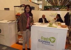 A very enthusiastic Nina Patel from Fresh Express, growers and exporters of Indian grapes.