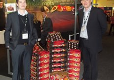 Matthew Mills and Michael Martins from Halls, promoting a new range of ready to eat avocados and mangoes from South Africa.