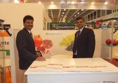 Nagesh Shetty and his colleague take time out of a very busy Indian grape exporting season to come to Berlin.