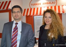 """Turker Ahtikalmaz with Guler Becer of Turker Ambalaj, leading manufacturer and exporter company of ""cardboard edge protectors"" in Turkey"""