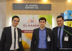 The El Hadeel (Egypt) team: Mohamed Elmoghazi, Managing Director (l) and Mohamed Elbialy, General Manager(r) with another colleague, the company offers oranges, pomegranates, grapes, onions, potatoes and dates