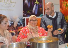 """.. the ""Taste of Morocco"" at the Moroccan Pavilion, free food was served during Fruit Logistica such as couscous with chicken, Moroccan sweets and tea, etc."""