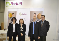 The team of Perlim promoting the apples and walnuts.