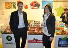 Stéphane Decourcelle and Mélanie Planchon from Les Fruits Rouges promoting their French berries