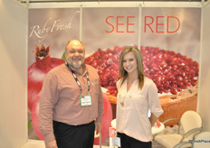 David Anthony and Breanne Loyd from RubyFresh promoting the pomegranates