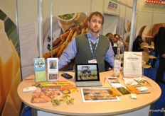 Steven Pope from Ham Produce promotes the sweet potatoes