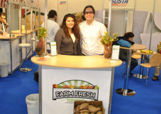 Diana Ramirez and Steven Ceccarelli from Farm Fresh Produce promoting their sweet potatoes