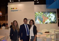 Victoria Mirasol, Daniel Vidal and colleague at the stand of Exquisite Fruits, kicking off their kaki campaign.