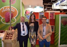 Stand of Planasa with its manager Alexander Pierron, promoting Adelita raspberries.