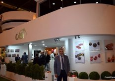 Miguel Vargas, president of Casi, with a stand emulating the Gugenheim museum of New York.