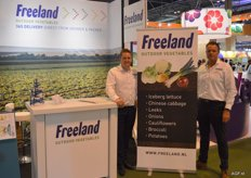 Jan Pieter and Herman of Freeland show which products they supply.