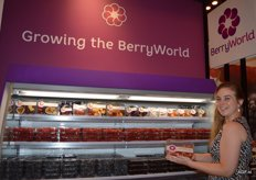 Shirly van der Linden of soft fruit company Berry World with the cooling unit in which strawberries, raspberries, blackberries and blueberries are shown.