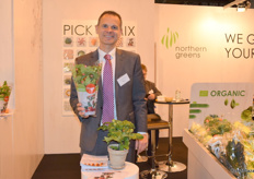 Soren Terndrup Hansen, Sales Director for Northern Greens showing the company's tomato Kitchen Mini's.