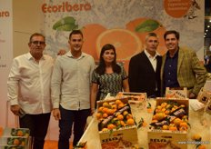 Productores of oranges and clementines Ecoribera. From left to right: Joaquín Selfa, Federico Selfa and Patricia Bayón, accompanied by Joaquin Cortéz, of the company HortoSabor.