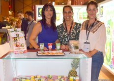 Pilar Esteve, Margarita Pereira and Maria Cacedo, of Stadium Innovation, showcasing the company's herbs and compotes.