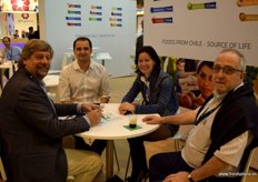 Alexander Tscherebilo, Stefano Viso, Alexandra Hagkaya and Mario Vallejo meeting at the stand of Chile.