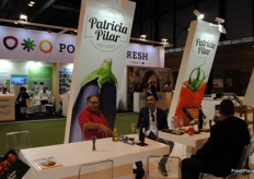 Patricio Lloret Marin, of Patricia Pilar, Portugal, having a chat at the stand.