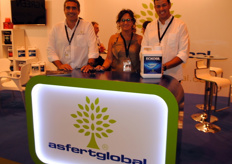 Pedro Sebastião, Judit Vidal and Bruno Fernandes, of Asfert Global, a Portuguese company devoted to plant nutrition which also carries out plenty of business in Spain, where it has an office.