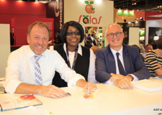 The managers of BelOrta: Filip Fontaine and Chris de Pooter with Claire Sakho of Global Bloom.