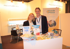 Claudine Beldman of Freshplaza/AGF/Primeur with Kees Kooijman, manager of Verdi