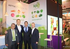The team of Kettle Produce. Juan Manuel Ruiz Garcia, Alan Wallace, Juan Manuel Ruiz Soler and Chris Orr. The supply of vegetables from Kettle Produce Ltd isn't confined to Scotland. In 2003, Kettle Produce Espána SL was formed as a joint venture based in Murcia, Spain. There are also several strategic supply partnerships with major growers in England, France, Spain and Portugal. In total, there are over 6,000 hectares of crops grown across the UK and Continental Europe.