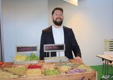 Fris-Co shared a stand with the Dutch company Van der Plas Sprouts. Pepijn van der Plas is pictured promoting various sprouts.