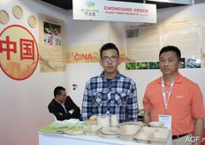The men from the Chongqing Green company, with plant fibre packaging.
