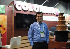 Juan Camilo Barrera from Procolombia. Promoting several products at the Colombian Pavilion, but especially the Chuva (Golden berries). It's not necessary anymore to use the coldtreatment, before shipping to the US. This makes it cheaper, quicker, fresher so more accessible.