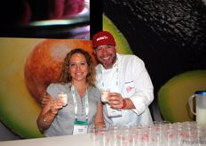 Emilia Belaunde from ProCitrus with chef Christian Bravo at the Peruvian stand.